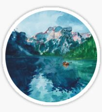 lake nature scene (with boat!!!) Sticker