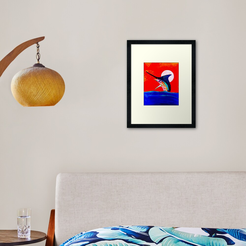 Moon and marlin Framed Art Print