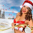 Sexy Santa's Helper girl great image for creating Holiday Greeting postcards or computer wallpapers by Anton Oparin