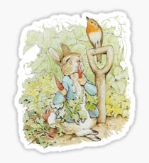 Peter Rabbit Eating Carrots - Beatrix Potter Sticker