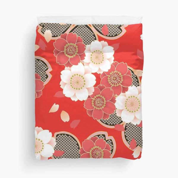 Vintage Japanese Wedding Kimono Pattern Duvet Cover