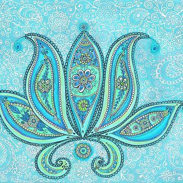 Lotus Blue Painting, Lotus drawing Illustration by DhanaART