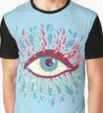 Weird Blue Psychedelic Eye Graphic T-Shirt