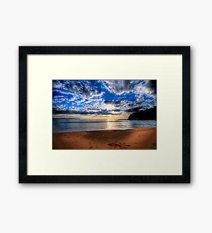 Footprints in The Sand - Sydney Beaches - Palm Beach, - The HDR Series - Sydney,Australia Framed Print