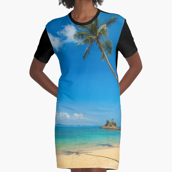 Tropical Palm Trees Graphic T-Shirt Dress