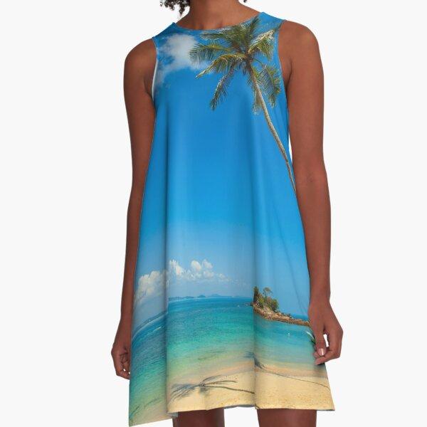 Tropical Palm Trees A-Line Dress