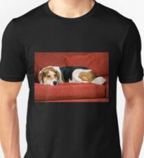 Dog Resting on Red Couch T-Shirt
