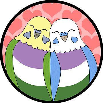 Genderqueer Pride Parakeets by Shadowfudo