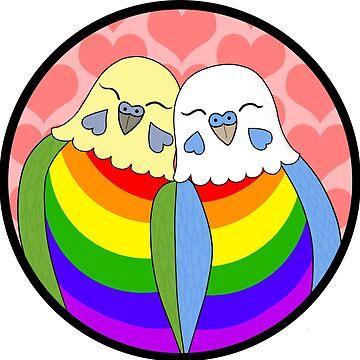 Gay Pride Parakeets by Shadowfudo