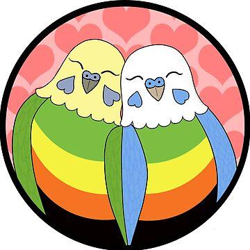 Aromantic Pride Parakeets by Shadowfudo