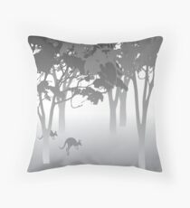 Morning Fog - kangaroos - Australian bush scene Throw Pillow