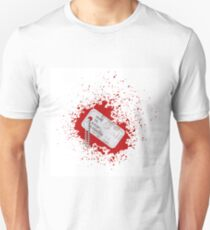 Military Dog Tag on Blood Background. Silver Identity Tag. T-Shirt