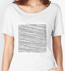 Grey Strokes Isolated on White Background. Careless Sketch. Women's Relaxed Fit T-Shirt