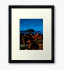 Island and Wild Blue Waves on the Rocks Framed Print