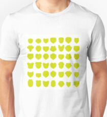 Silhouettes of Yellow Shields Isolated on White Background. Unisex T-Shirt