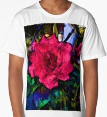 Pink Flower with Black Lines Long T-Shirt