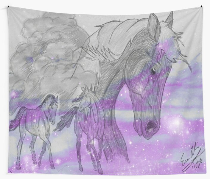 Galaxy Horses Wall Tapestries By Phrozenphotos Redbubble