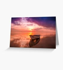 Boat and Sunset Greeting Card