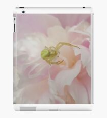 Green Spider on Pink Peony iPad Case/Skin