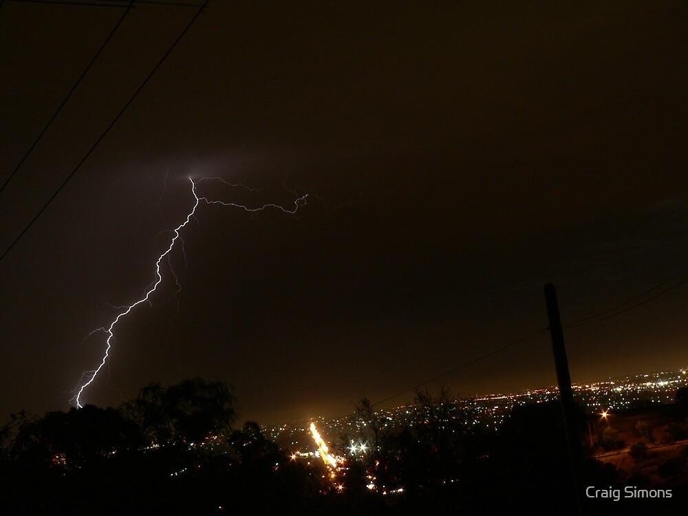 LIghtning over the lights of Adelaide by Craig Simons