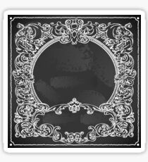 Vintage Floral Frame on Blackboard Sticker
