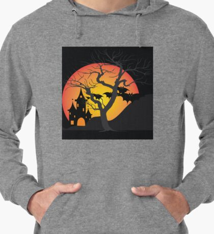 Halloween Scary Castle with Bats and Full Moon Lightweight Hoodie