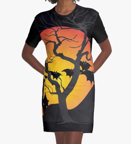Halloween Scary Castle with Bats and Full Moon Graphic T-Shirt Dress
