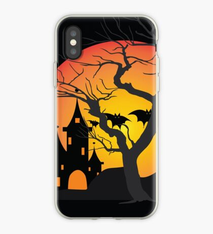 Halloween Scary Castle with Bats and Full Moon iPhone Case