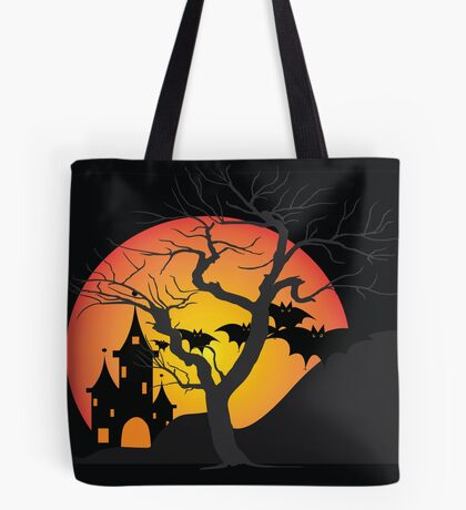 Halloween Scary Castle with Bats and Full Moon Tote Bag