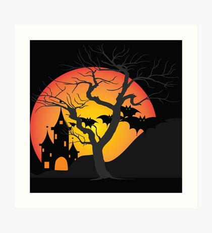 Halloween Scary Castle with Bats and Full Moon Art Print