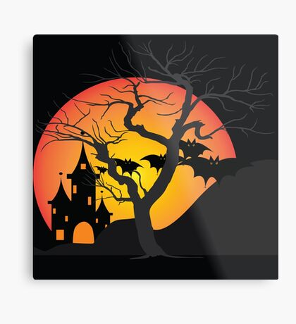 Halloween Scary Castle with Bats and Full Moon Metal Print