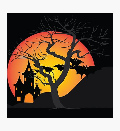 Halloween Scary Castle with Bats and Full Moon Photographic Print