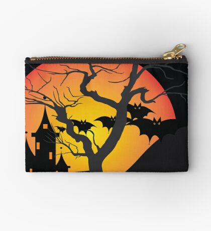 Halloween Scary Castle with Bats and Full Moon Studio Pouch