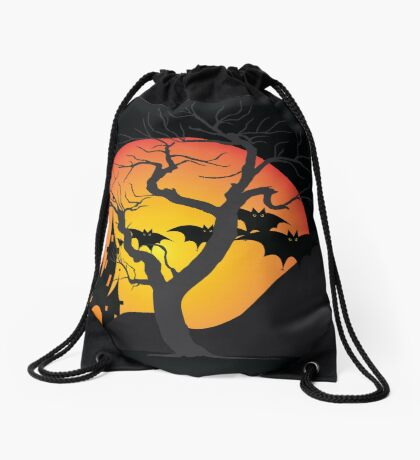 Halloween Scary Castle with Bats and Full Moon Drawstring Bag