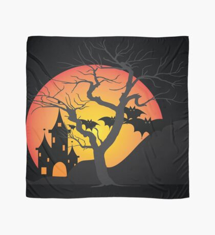 Halloween Scary Castle with Bats and Full Moon Scarf