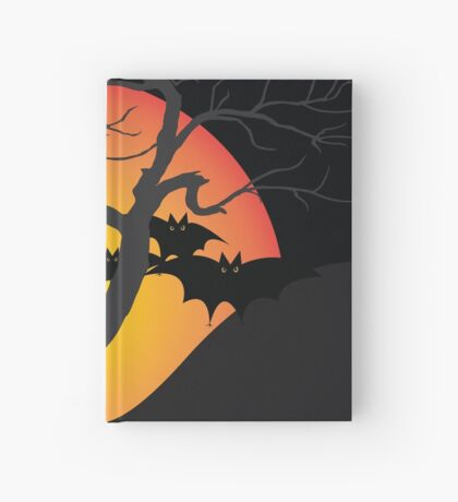 Halloween Scary Castle with Bats and Full Moon Hardcover Journal