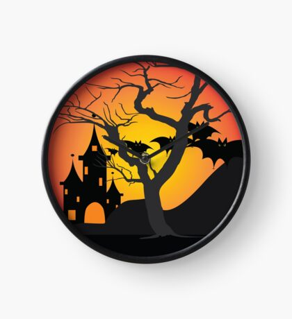 Halloween Scary Castle with Bats and Full Moon Clock