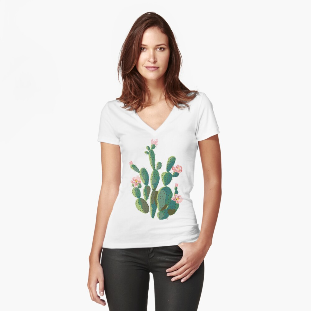 cactus  Women's Fitted V-Neck T-Shirt Front