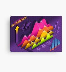 Isometric Infographic Stats Set Elements Canvas Print