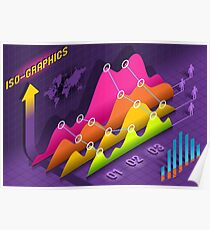 Isometric Infographic Stats Set Elements Poster