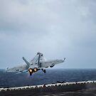 Eine F / A-18E Superhornet startet von der USS George Washington. von StocktrekImages