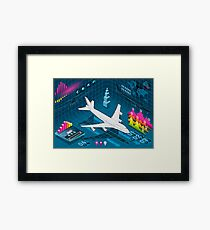 Isometric Airplane Infographic Airport Framed Print