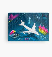 Isometric Airplane Infographic Set Elements Metal Print