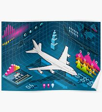 Isometric Airplane Infographic Airport Poster
