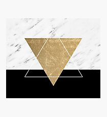 Golden marble deco geometric Photographic Print