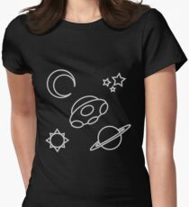 Space Line Art Womens Fitted T-Shirt