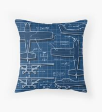 Plane Project Blue Print Throw Pillow