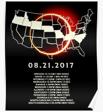 States of the USA Total Eclipse 08/21/2017 Poster