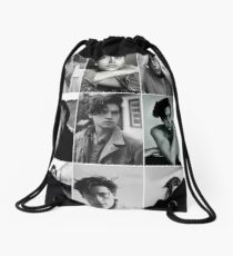 cole sprouse black and white aesthetic collage Drawstring Bag
