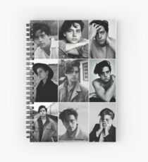 cole sprouse black and white aesthetic collage Spiral Notebook